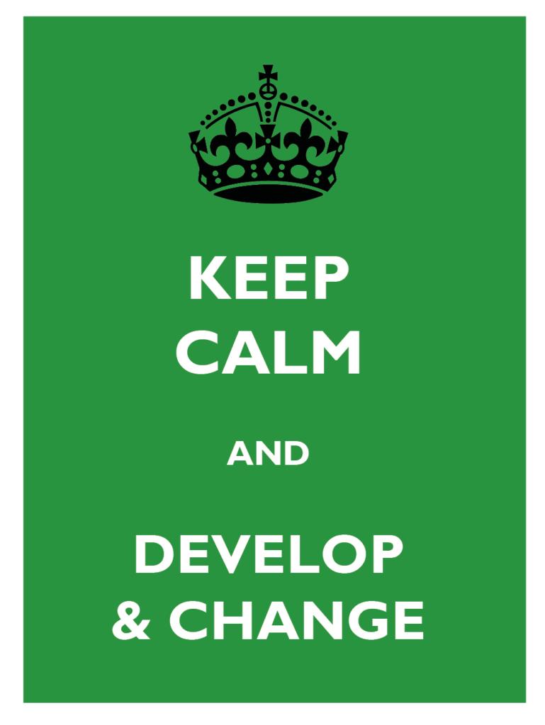 Skillnaden mellan chefskap och ledarskap - keeep calm and develop and change